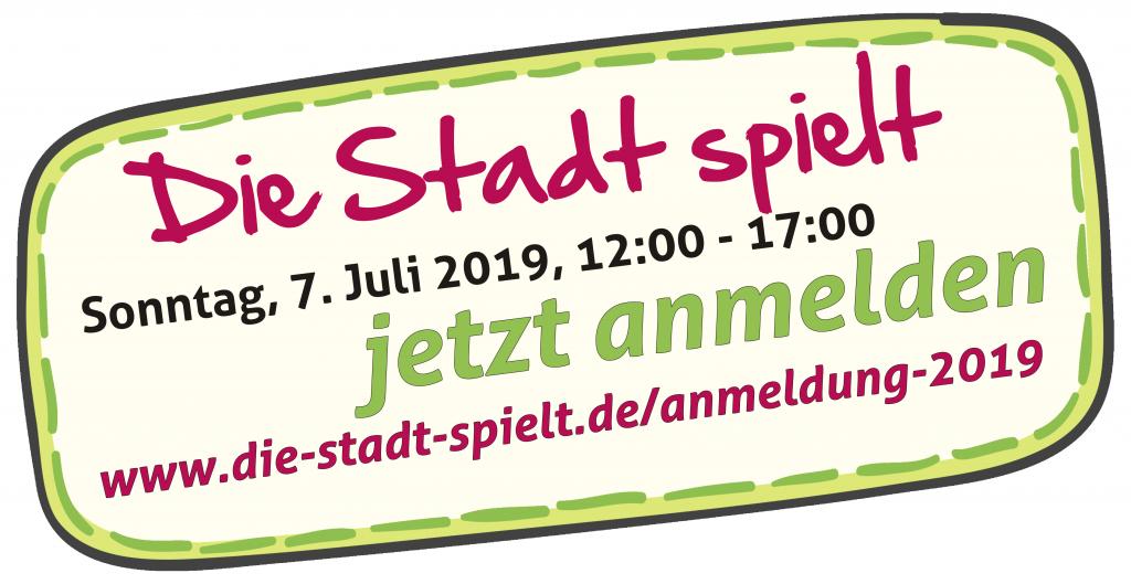 Blasenmotiv mit Aufforderung zur Anmeldung untr www.die-stadt-spielt.de/anmelung-2019