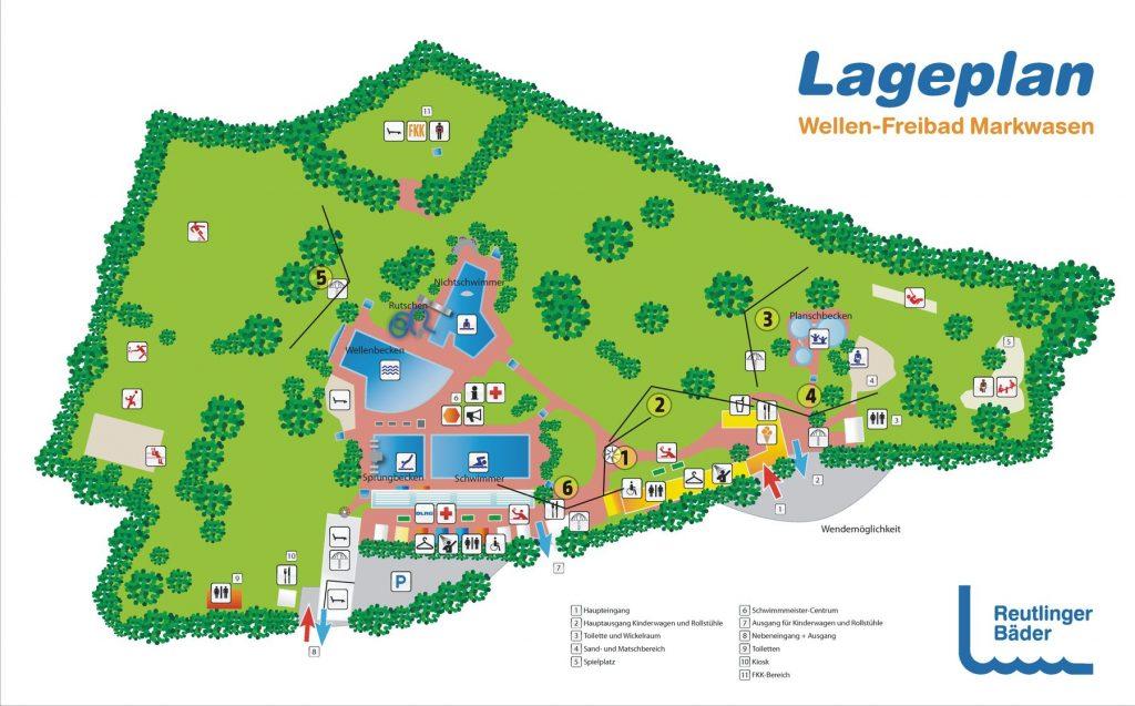 Plan des Freibads mit Hinweisen, aus welchem Blickwinkel dazugehörende Fotos gemacht wurden