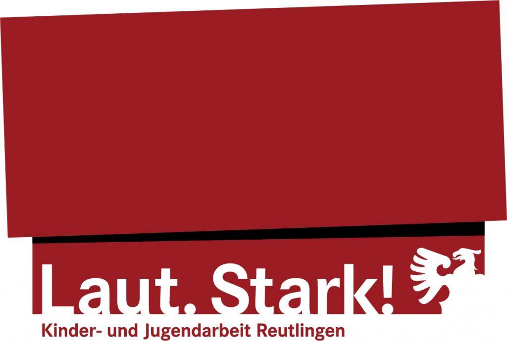 Logo des Amtes für Schulen, Jugend und Sport der Stadt Reutlingen mit dem Slogan Laut [punkt] Strak [Ausrufezeichen] und dem Adler der Stadt Reutlingen auf rotem Hintergrund